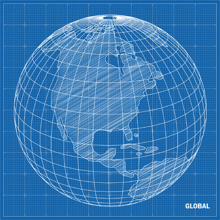Global sphere blueprint Vector illustration
