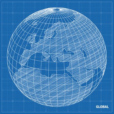 Global sphere blueprint  Vector illustration  Ilustração