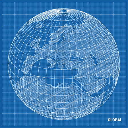 Global sphere blueprint  Vector illustration Imagens - 25815808
