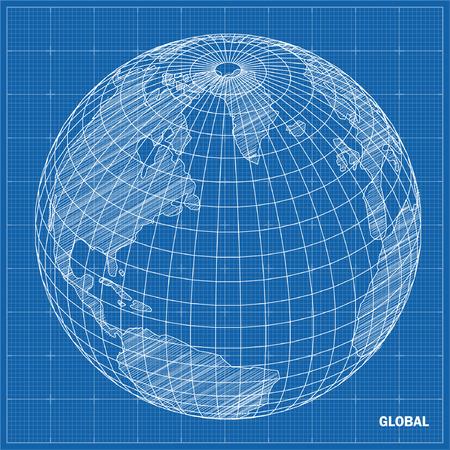 Esfera Global plano técnico ilustración vectorial Vectores