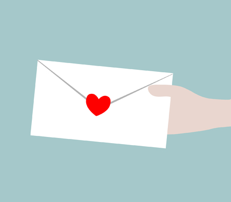 Envelope with red heart for valentine day - EPS 10 vector icon  Vector