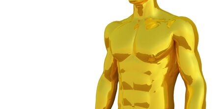 Perfect abs Strong bodybuilder with six pack gold man standing isolated on white.  photo