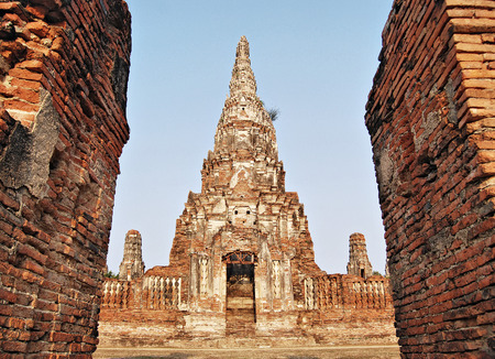 Pagoda image in Wat Chaiwatthanaram at Sukhothai , Thailand  photo