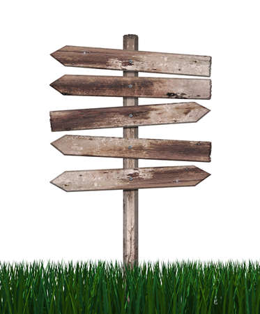 obsolete: Wood sign in green grass isolated on a white background  Stock Photo