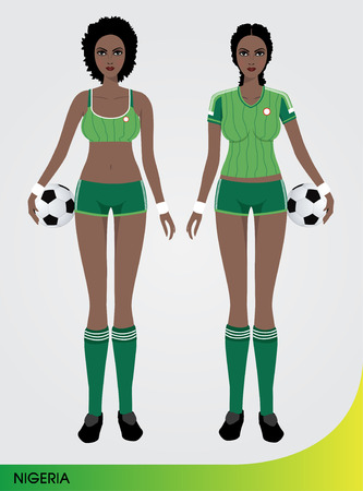 football socks: Soccer Cartoon Character Sexy female player standing and holding the ball Illustration