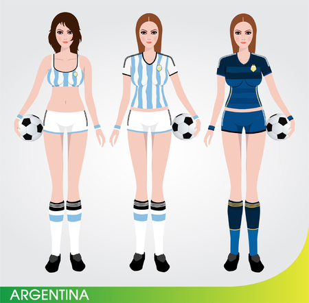 shorts t shirt sexy: Soccer Cartoon Character Sexy female player standing and holding the ball  Football team uniform