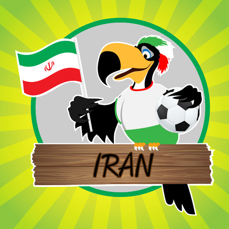 Football Mascot  Bird  Characters with flag on Light Green Background   Vector