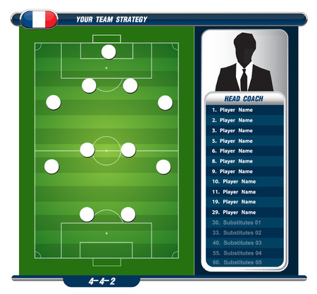 Football background, team info charts and manager  Vector