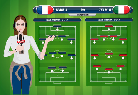 illustration of a TV sport reporter at work  soccer playing field with strategy elements   Vector