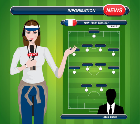 tv reporter: illustration of a TV sport reporter at work  soccer playing field with strategy elements