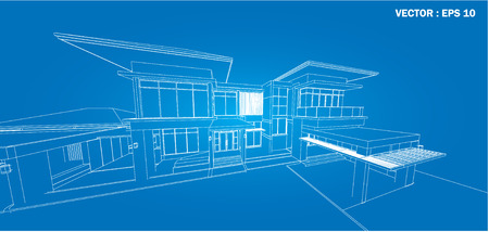 Perspective 3D render of building wireframe - Vector illustration  illustration