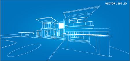 視点 3 D ワイヤ フレームを建物のレンダリングします。