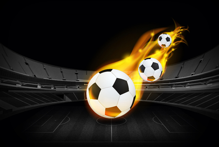 flamy: bright flamy symbol on the soccer field background  Stock Photo