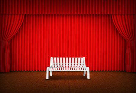 Empty chair on spot light on stage of the theater  photo