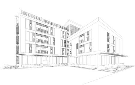 lijntekening: Wireframe perspectief van huis - 3D render van een gebouw Stockfoto