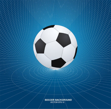 pentagon: soccer ball on abstract wireframe background Illustration