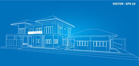3D wireframe of building  Illustration