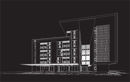 housing project: 3D wireframe of building  Illustration