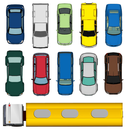 roof top: Set of Various Isolated 3d Cars  Stock Photo