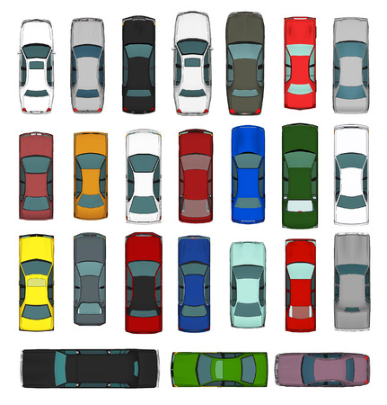 cabrio: Set of Various Isolated 3d Cars  Stock Photo
