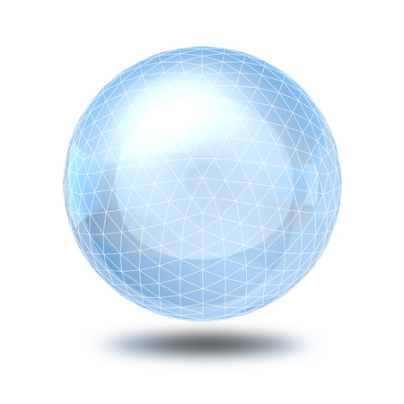 scrying: sphere wireframe glass ball  Stock Photo