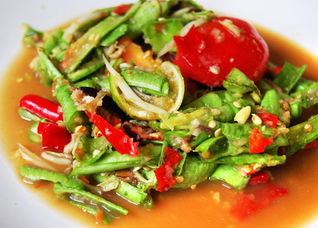 tam: som tam thai, green papaya salad Stock Photo