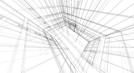 Abstract wireframe building  3d render  photo