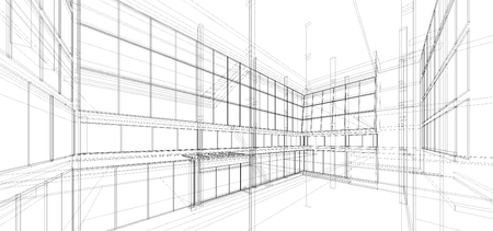 Abstract wireframe building  3d render  Imagens