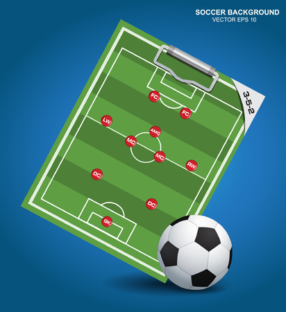 soccer coach: Soccer strategy formation type with soccer ball