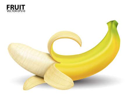 banana skin: banana on white background.vector Illustration