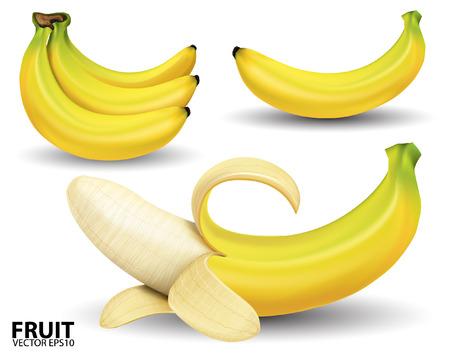 banana peel: banana on white background.vector Illustration