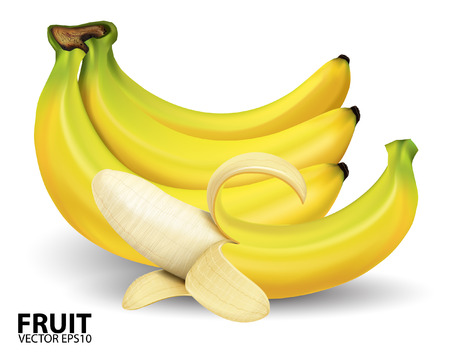 platano maduro: plátano en background.vector blanco