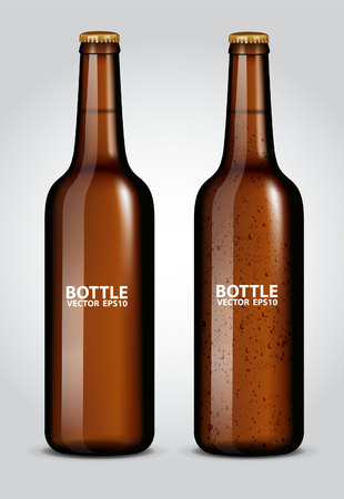 glasses of beer: blank glass beer bottle for new design Illustration
