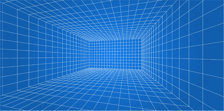 3D Wire-frame grid room - Vector illustration.