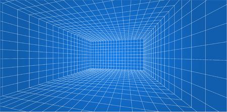 Salle de grille en fil de fer 3D - illustration vectorielle.