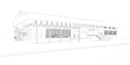 construction plan: Perspective 3D render of building wireframe