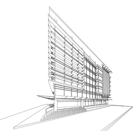 wireframe: 3D wireframe of building