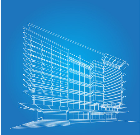 modern house sketch: 3D wireframe of building