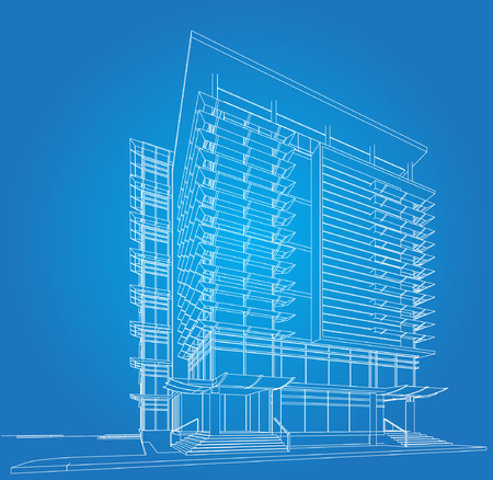 architectural rendering: 3D wireframe of building