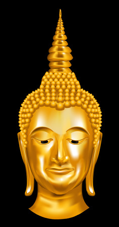Head Golden Buddha. Vector illustration.