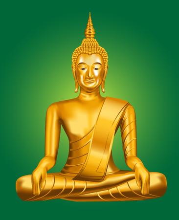 stone buddha: Buddha illustration on green