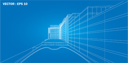 architecture abstract: 3D wireframe of building