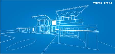 Rsum de rendu 3d de la maison filaire vector illustration clip art perspective de rendu 3d de la construction filaire vector illustration malvernweather Choice Image