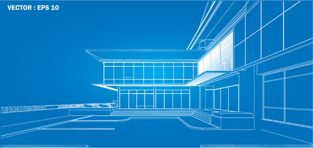 architectural rendering: Perspective 3D render of building wireframe - Vector illustration
