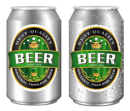Beer Label vector visual on aluminum drinks can, ideal for beer, lager, ale, stout etc. Can drawn with mesh tool. Fully adjustable & scalable.