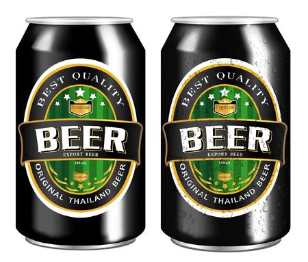 cerveza negra: Etiqueta de la cerveza visual en bebidas lata de aluminio, ideales para la cerveza, cerveza dorada, cerveza inglesa, cerveza de malta, etc. vectorial Can dibujado con la herramienta de malla. Totalmente ajustable y escalable. Vectores