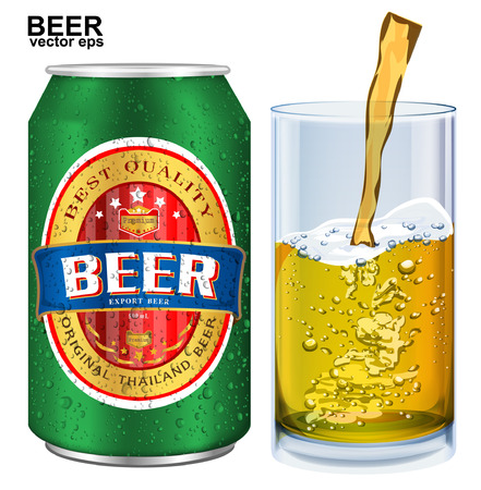 beer can: Beer Label visual on aluminum drinks can Illustration