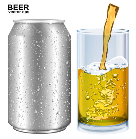 aluminum: Aluminum cans, glass of beer with drops. Vector illustration