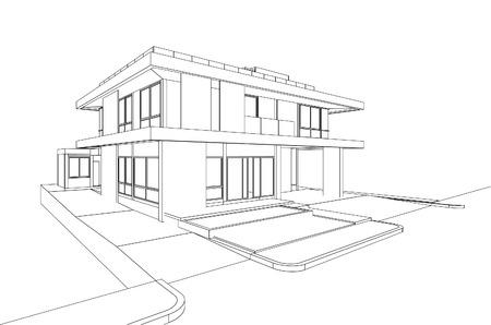 3D wireframe van het gebouw Stock Illustratie