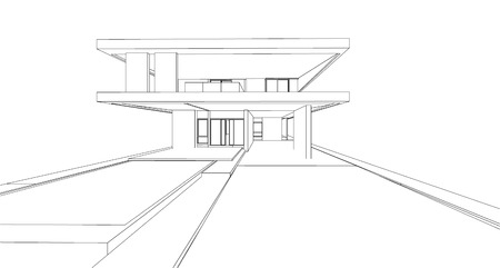 3d wireframe of building Imagens - 45485531